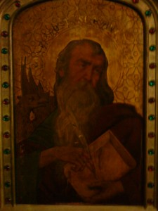 Vechiul hram, Sfântul Evanghelist Ioan, reprezentat în Catedrala din Paris