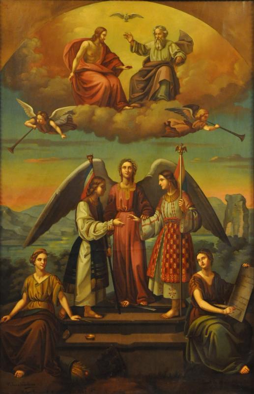 Tablou din Palatul Patriarhiei care reprezintă Unirea Principatelor Române