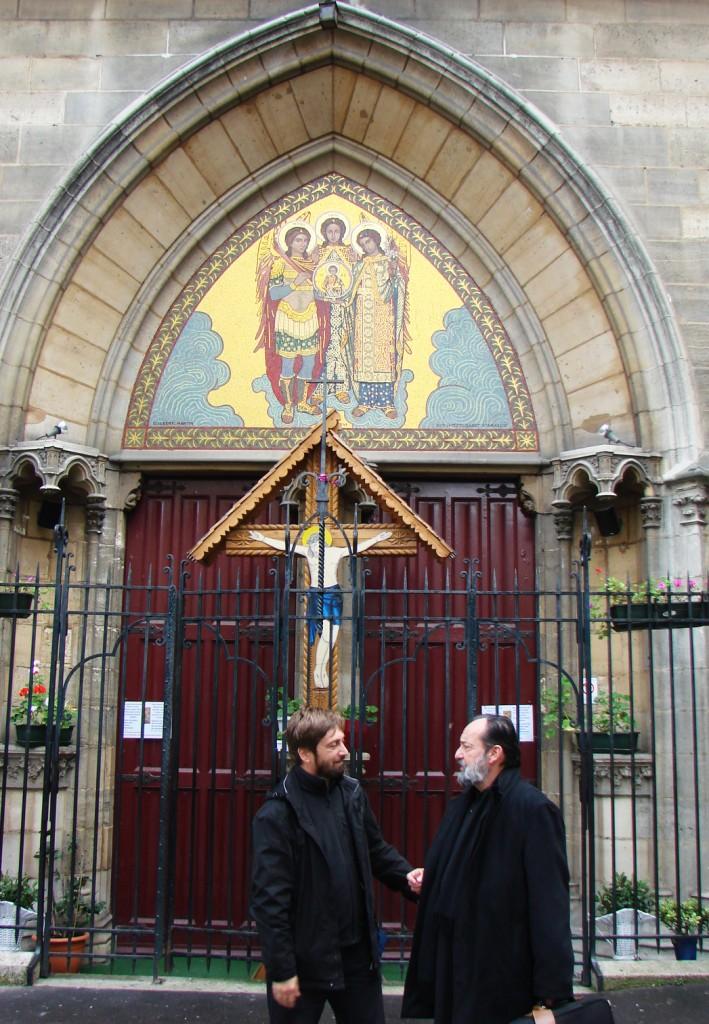 Cu Părintele Jean Boboc în fața Catedralei Ortodoxe Române  din Paris