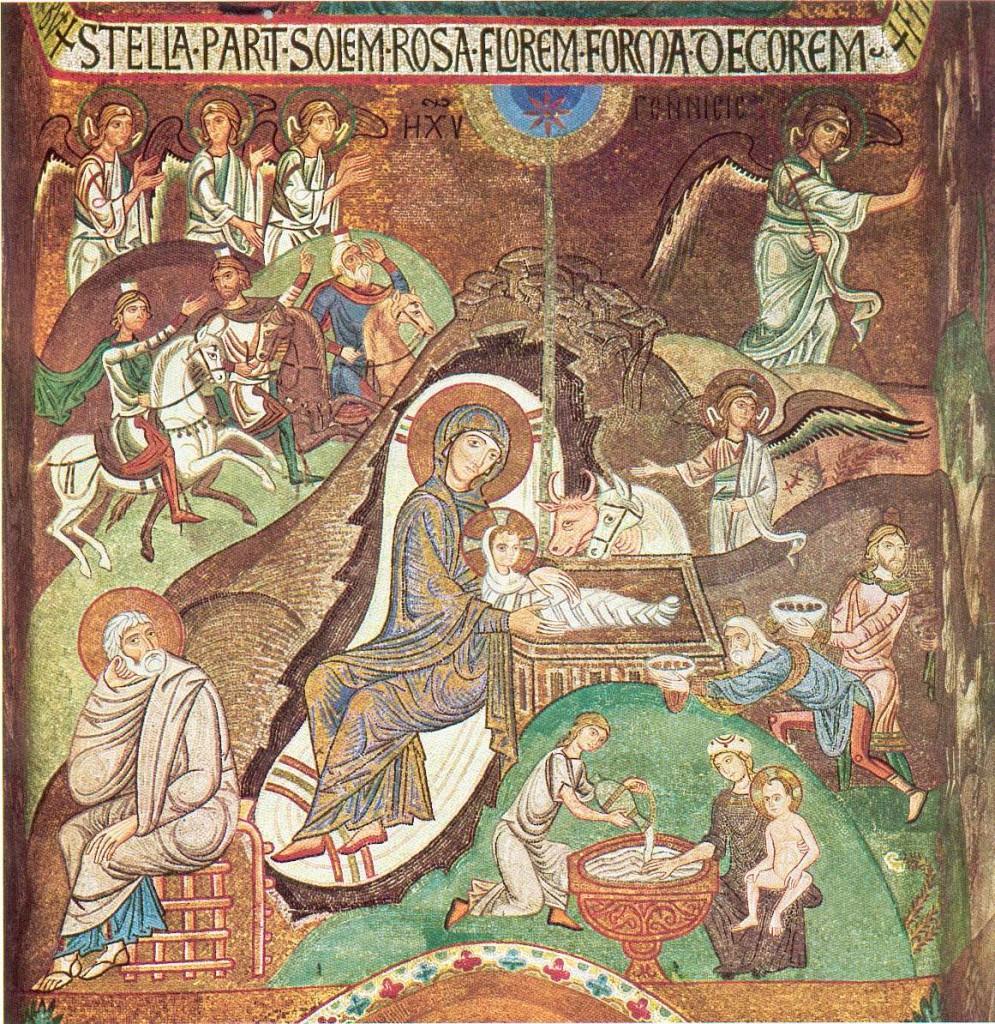 Nașterea Domnului, mozaic din Palermo, Italia