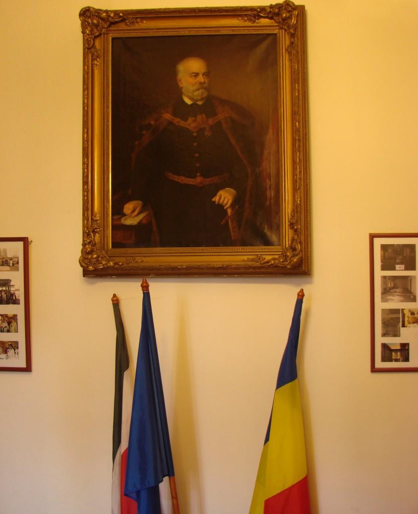 Portretul ctitorului Emanuil Gojdu din incinta mănăstirii românești din Budapesta