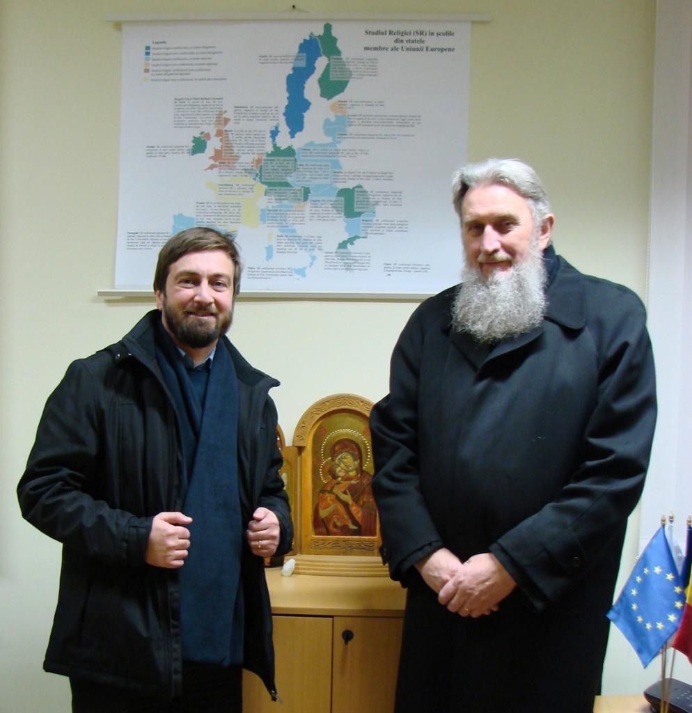 Alături de Părintele Vasile Mihoc în biroul Reprezentanței Patriarhiei Române pe lângă Instituțiile Europene din Bruxelles