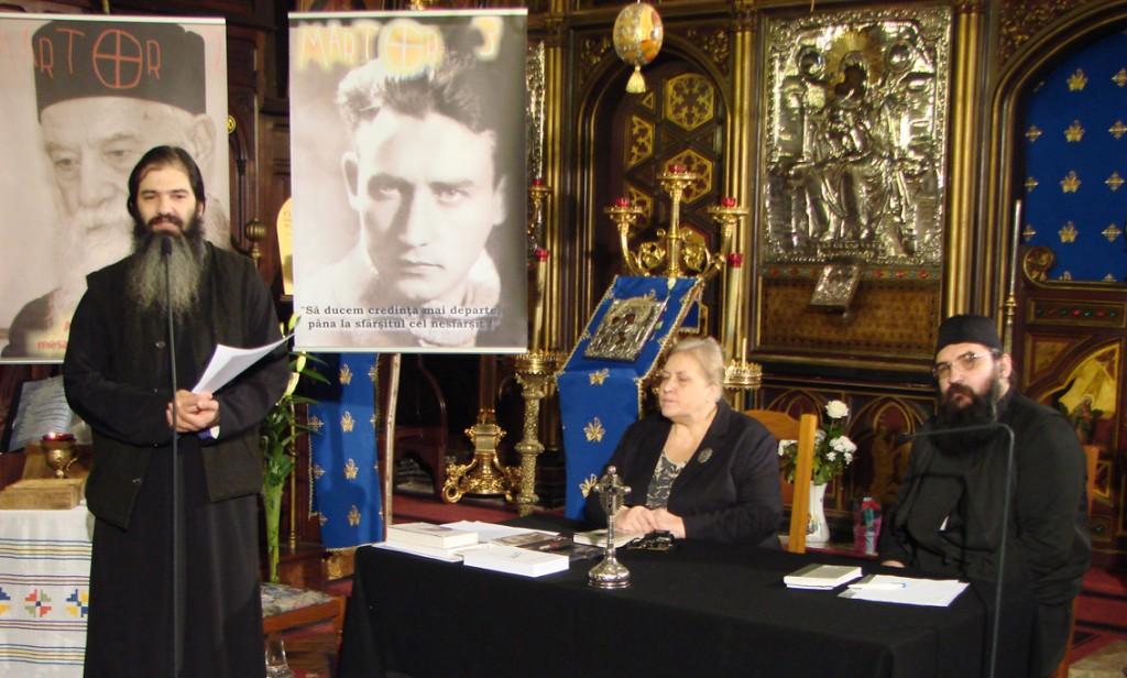Pr. Emilian Marinescu, Carmen Ghiță și monahul Moise la evocarea lui Valeriu Gafencu în Catedrala Ortodoxă Română din Paris, 25.02.2012