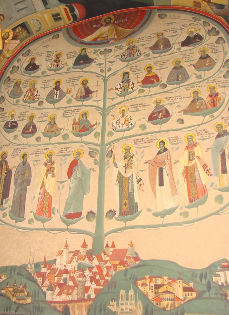 Arbore cu sfinți sădit în orașul Nürnberg, frescă de Grigore Popescu